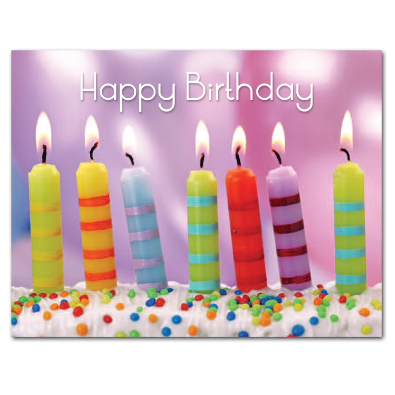 Birthday Postcards Striped Candles box of 50 postcards – Birthday Post Cards