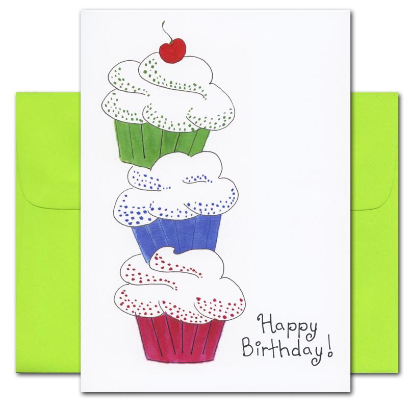 Birthday Cards Cupcake Crush box of 10 cards and envelopes – Cupcake Birthday Cards